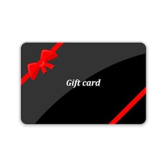 Geschenkkarte mit roter schleife. illustration