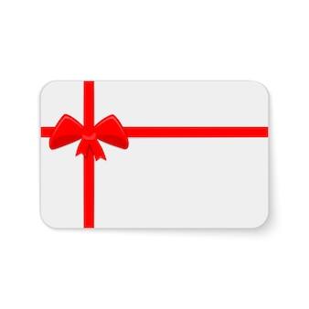 Geschenkkarte mit roter schleife und bändern lokalisiert auf weiß
