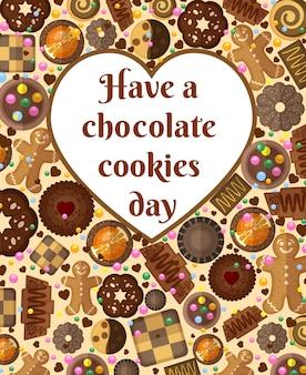 Geschenkkarte mit schokoladenkeksen und platz für ihren text in form eines herzens.