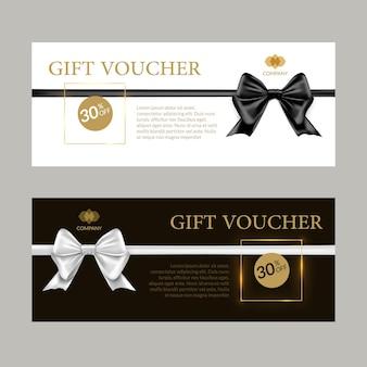 Geschenkkarte oder geschenkgutschein-vorlage. schwarz-weiß-banner-zertifikatsdesign mit schleifen und bändern