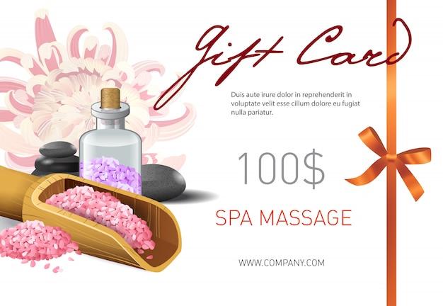 Geschenkkarte, spa massage schriftzug und salz in schaufel. spa salon geschenkgutschein
