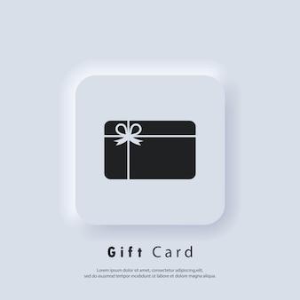 Geschenkkarte symbol vektor-logo. symbole für treuekarten. incentive-geschenk-logo. bonus sammeln, belohnung verdienen, geschenk einlösen, geschenk gewinnen. vektor. ui-symbol. neumorphic ui ux weiße benutzeroberfläche web-schaltfläche.