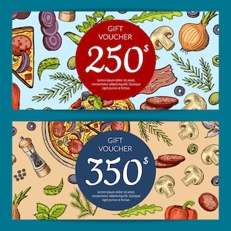 Geschenkkarte und gutschein für pizza rabatt mittagessen