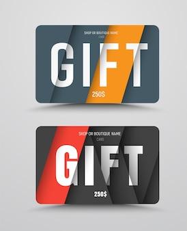 Geschenkkartenvorlage im stil des materialdesigns. satz von schwarzen, gelben und roten farben.