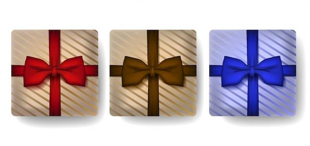 Geschenkkasten im realistischen satz der art 3d.