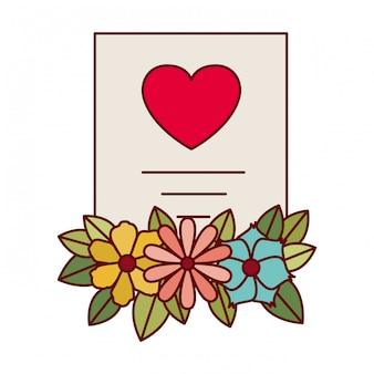 Geschenkliste mit blumen lokalisierte ikone