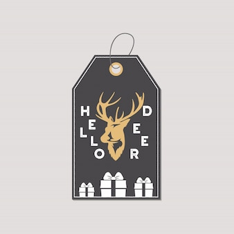 Geschenkmarke oder -aufkleber der frohen weihnachten und des neuen jahres.