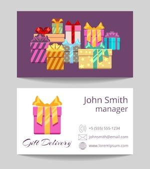 Geschenkversand-service-visitenkarte beide seiten vorlage