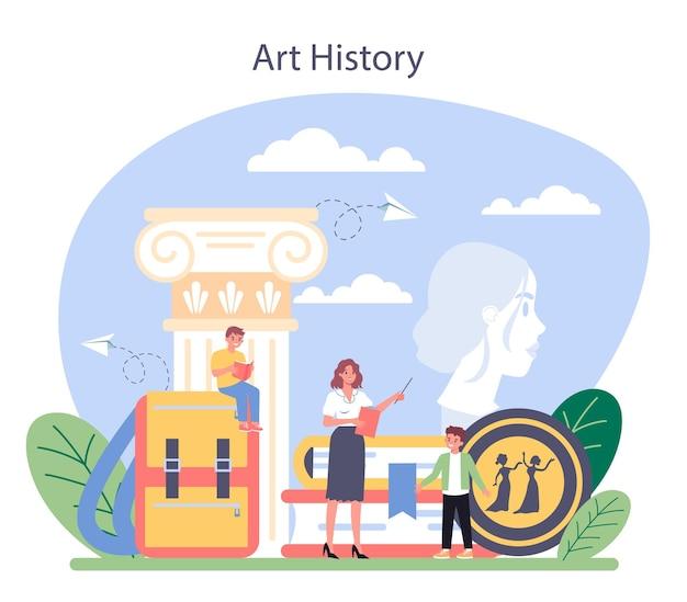 Geschichte der kunstschulausbildung. student studiert kunstgeschichte.