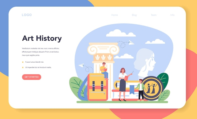 Geschichte der kunstschulbildung web-banner oder landingpage