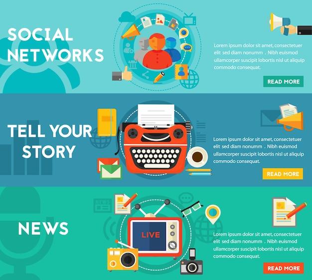 Geschichten erzählen, nachrichten und social networking-konzept