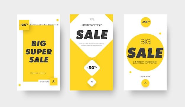 Geschichten social-media-vektor-banner-design für den großen verkauf mit verschiedenen geometrischen farbformen. weiße moderne rabattvorlage