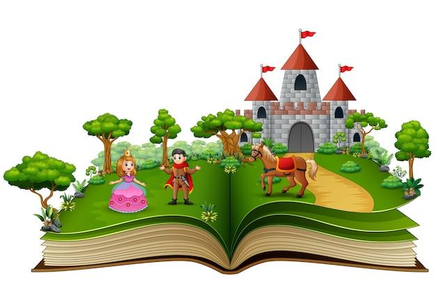 Geschichtenbuch mit cartoon prinzessinnen