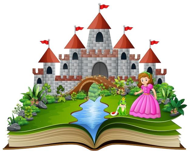 Geschichtenbuch von prinzessin und froschprinz cartoon