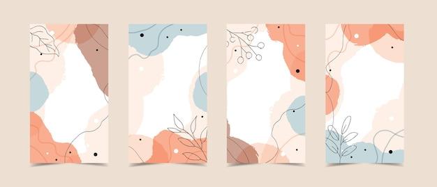 Geschichtenschablone mit abstraktem modernem hintergrund mit fließenden organischen formen, pastellfarben