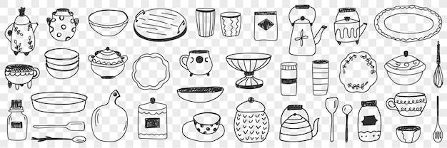 Geschirr auf küche gekritzel set illustration
