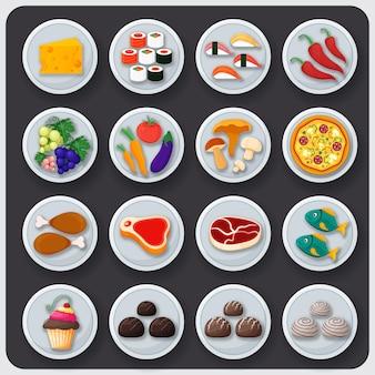 Geschirr-icon-set. essen auf den tellern
