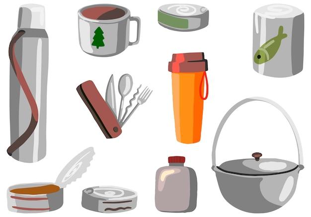 Geschirr, konserven zum wandern, outdoor-abenteuerset, campingausrüstung. handgezeichnete vektorgrafiken. bunte cartoon-cliparts isoliert auf weiss. für designdruck, dekor, karte, aufkleber.