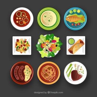 Geschirr sammlung mit verschiedenen lebensmitteln
