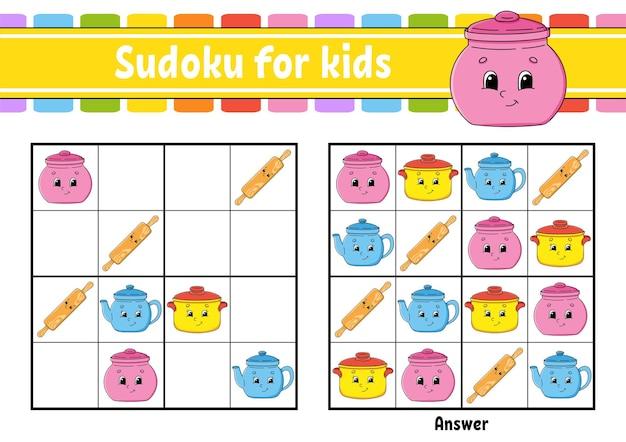 Geschirr thema sudoku für kinder