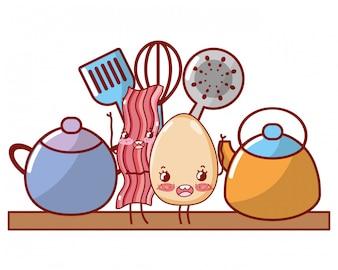 Geschirr und Zutaten Cartoon