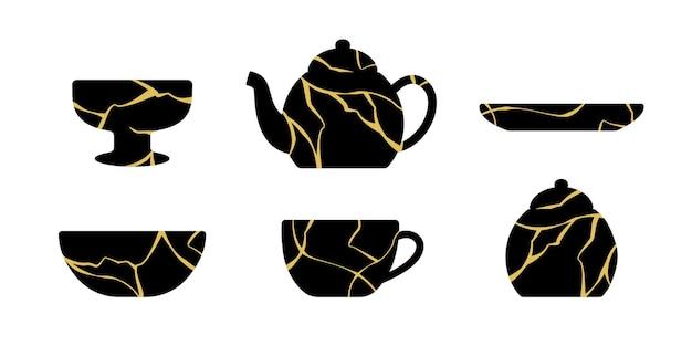 Geschirrset gold kintsugi japanische kunst des reparierens.