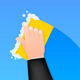 Geschirrspülen, geschirrspülen. spülmittel, geschirr und gelber schwamm. vektorgrafik auf lager.