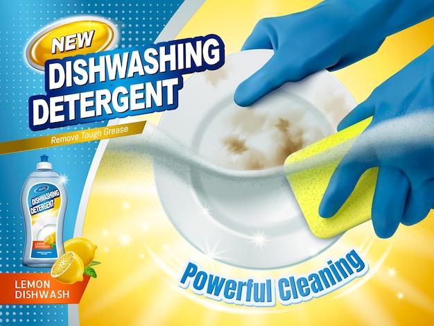 Geschirrspülmittel-anzeigen, blaue handschuhe, die einen schwamm halten und die schmutzigen teller mit spülmittel unter wasser schrubben, 3d-darstellung