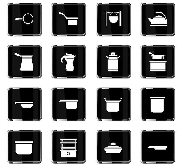 Geschirrvektorsymbole für das design der benutzeroberfläche