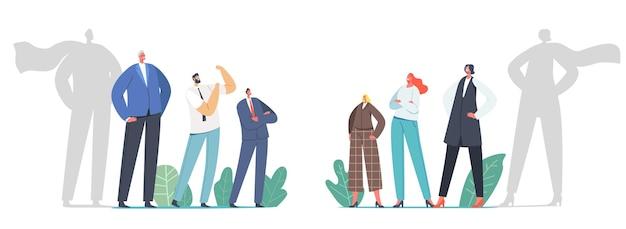 Geschlechter-sex-team-rivalität, büro-superhelden-konzept. selbstbewusste männer und frauen opposition, kampf. männliche und weibliche charaktere mit umhangschatten, führung. cartoon-menschen-vektor-illustration