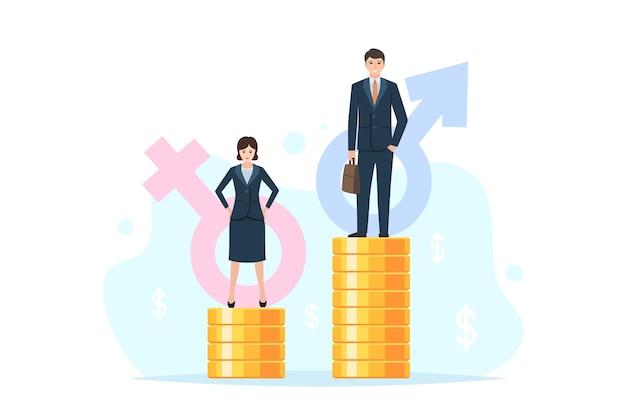 Geschlechtergefälle, ungleiche gehaltszahlungen, finanzielle rechtsunterschiede. geschäftsmann und geschäftsfrau auf verschiedenen münzstapeln, die vielfalt in der lohnniveauvektorillustration darstellen, die auf weißem hintergrund lokalisiert wird