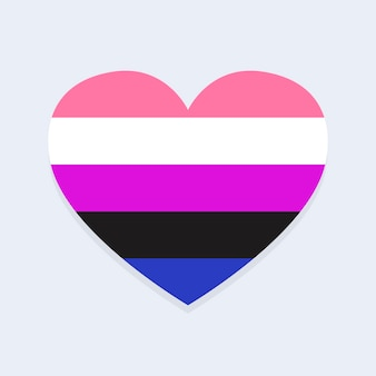 Geschlechtsflüssigkeitsflagge in herzform