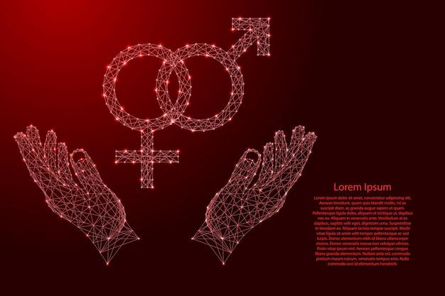 Geschlechtsmerkmale männlicher und weiblicher herkunft sind miteinander verflochten und zwei halten