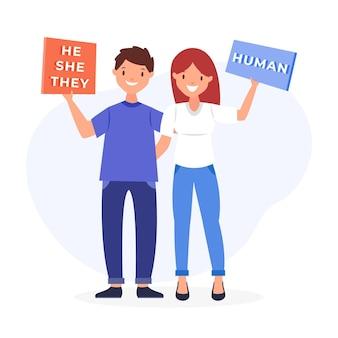 Geschlechtsneutrale bewegungsillustration mit zeichen