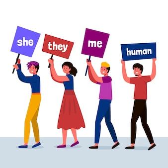 Geschlechtsneutrales bewegungskonzept mit personenillustration