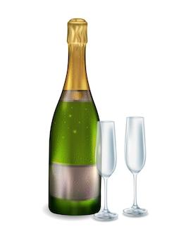 Geschlossene flasche weißen champagners