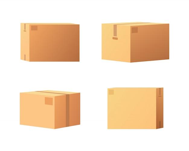 Geschlossene paket-ikonen von der seite, von der rückseite und von der vorderansicht