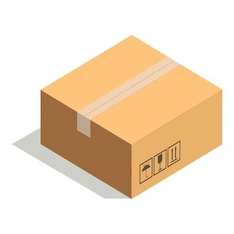 Geschlossene papierpappschachtel lokalisiert auf weiß mit klebstreifen