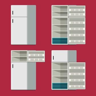 Geschlossene und geöffnete satzikone des kühlschranks im roten hintergrund. vektor-illustration