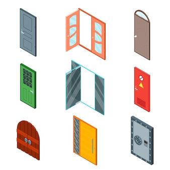 Geschlossene und offene vordertüren in verschiedenen farben für die isometrische ansicht des gebäudesets für ihr unternehmen. vektorillustration