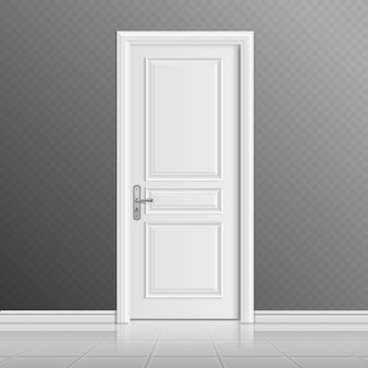 Geschlossene weiße eingangstürillustration. türeingang im haus, innentür