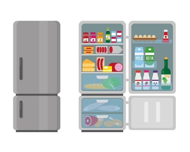 Geschlossener und geöffneter kühlschrank voller lebensmittel.