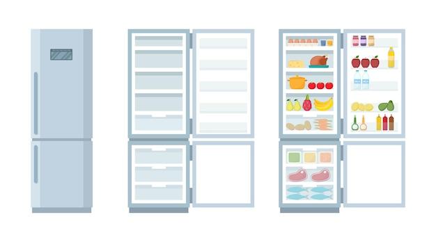 Geschlossener und offener leerer kühlschrank. kühlschrank und gefrierschrank voller lebensmittel, vektorillustration