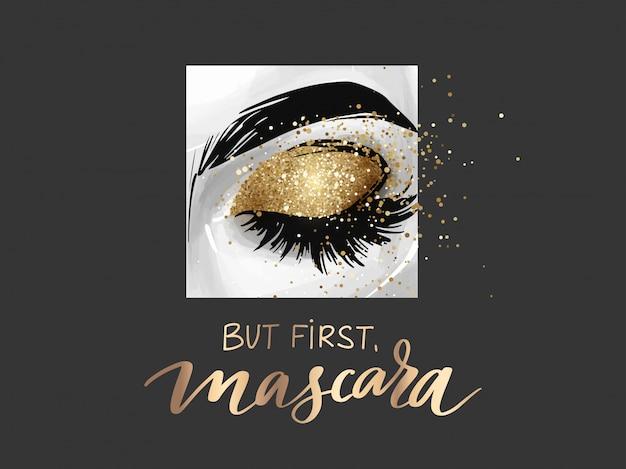 Geschlossenes auge mit goldenem glitzer-lidschatten und satz aber zuerst mascara.