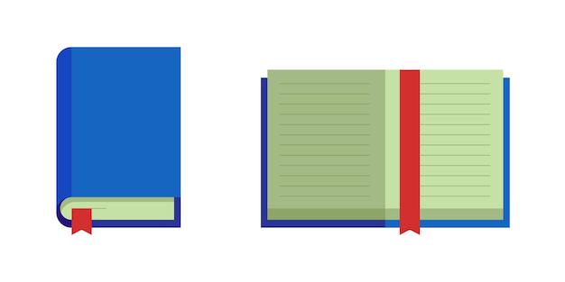 Geschlossenes offenes buch mit blauem deckel rotes lesezeichen bildung flach ve