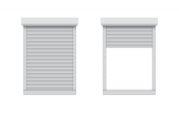 Geschlossenes und geöffnetes rollladenfenster.