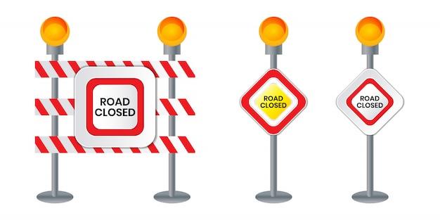 Geschlossenes verkehrsschild für barriere konstruktionsmarkierung