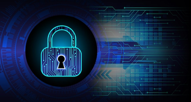 Geschlossenes vorhängeschloss auf digitalem hintergrund cybersicherheit cyber digital circuit future technology