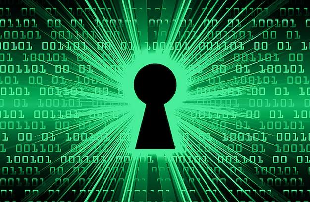 Geschlossenes vorhängeschloss auf digitalem hintergrund, grüne cybersicherheit