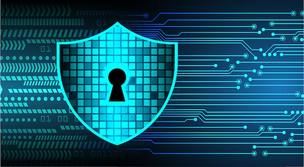 Geschlossenes vorhängeschloß auf digitalem hintergrund, internetsicherheit